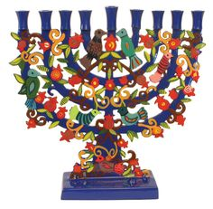Size: 24 cm X 22 cm / 9.5 X 8.5 Hand painted laser cut metal We are proud to present an exciting line of Artistic Judaica by Yair Emanuel. The unique colorful beauty of this fantastic