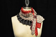 Each of these beautiful ruffled ascot collars is handmade from a trio of carefully selected repurposed upcycled vintage neckties. I use silk ties