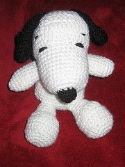 """And in English Snoopy Crochet Pattern. Directions were pretty clear and it was easy, although hardest part for me was attaching the head to the body. My Snoopy head is a little longer, but I think he turned out great! (Pics on FB for those friends.) May consider making Belle so daughter has a """"set"""". :)"""