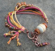 Boho Pinks and Golds Beadwork Bracelet Beaded by BlueQuailDesign, $45.00