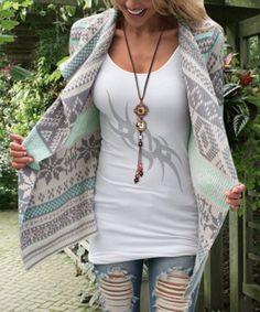 Casual Turn-Down Collar Printed Long Sleeve Asymmetric Cardigan For WomenSweaters & Cardigans   RoseGal.com