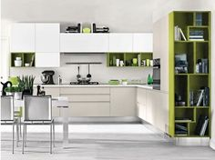 Wooden fitted kitchen without handles LINDA | Fitted kitchen