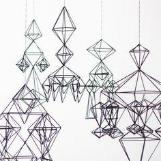himmeli no. 3 - hanging mobile - modern mobile - sculpture - geometric - black - finnish design - home decor. via Etsy.