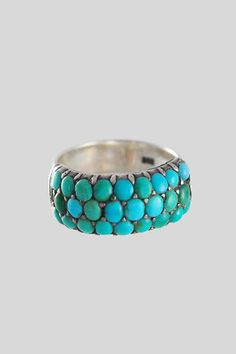 Antique Victorian Silver and Pave Turquoise Band Ring