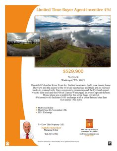 Real Estate for sale at $529,900! Come and view this .7 Acre Columbia Riverfront Lot located at 714 South A Street, Washougal, Washington 98671 in Clark County area 33 which is in the Washougal area. It's a perfect location to build your dream home! The view and the access to the river are spectacular. Easy commute to downtown and the Portland airport. Next to dike trail and the port of Camas/Washougal, in area of upscale homes. House plans are available. The RMLS number is 16057208. The…