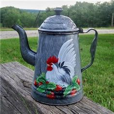 frenh+country+painted+coffee+pots | ... Swirl Graniteware COFFEE POT HP Rooster Art French Country T. McMurry