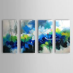 Hand Painted Oil Painting Abstract Blooming Lotus with Stretched Frame Set of 4 1309C-AB0830 – CAD $ 145.47