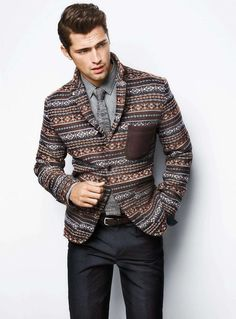To look like a real gent at all times, dress in a brown fair isle blazer and charcoal dress pants. Sean O'pry, Charcoal Dress, Grey Shirt Dress, Gray Shirt, Blazer Dress, Blazer Jacket, Dress Pants, Knit Tie, Sharp Dressed Man