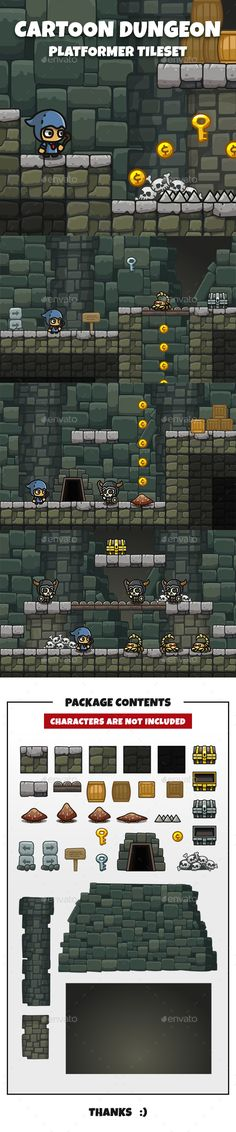 Platformer tileset suitable for any platformer games, including endless runner type games. Characters and enemies are not included. Dungeon