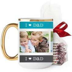 I Heart Dad Mug, Gold Handle, with Ghirardelli Peppermint Bark, 15 oz, Blue
