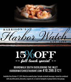 Welcome to Harrison's Harbor Watch Restaurant of Ocean City MD. Bringing you the Freshest Seafood, an award winning RawBar, Certified Angus Beef Steaks. Ocean City Md, Lunch Specials, Angus Beef, Fresh Seafood, Beef Steak, Coupons, Restaurant, Watch, Cool Stuff