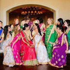 bridesmaids wearing different colored saris   Glamorous Outdoor Hindu Wedding {California} - Gallery
