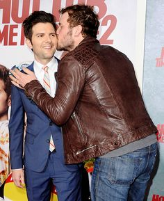 Adam Scott got a little love from his Parks and Recreation costar Chris Pratt at the L.A. premiere of Hot Tub Time Machine 2 on Feb. 18.