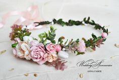 Bridal flower crown Bridal floral crown by FaberAccessories