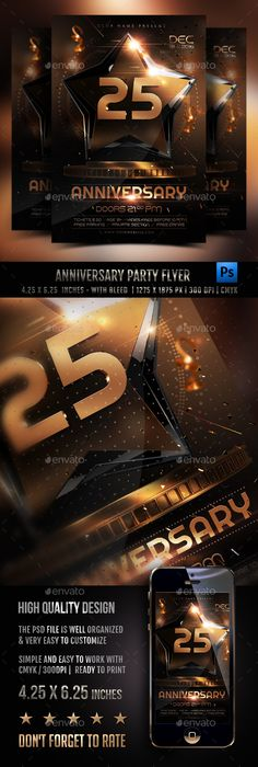 Anniversary Party Flyer — PSD Template #print #anniversary • Download ➝…