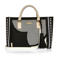 Black large whipstitch tote handbag $94.00