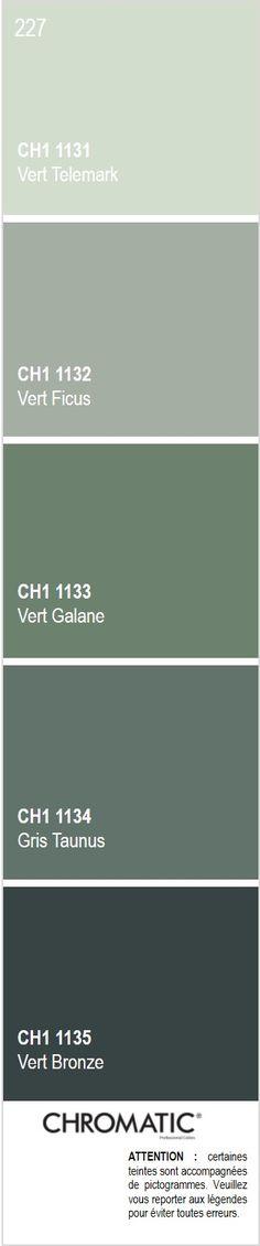 Découvrez toutes les nuances de gris colorés du nuancier CHROMATIC®, source d'inspiration pour finaliser vos projets décoratifs.  Ici la page 227 du Vert Ficus, couleur de l'année 2016 CHROMATIC®. Rendez-vous sur www.chromaticstore.com #couleur2016 #gris #nuancier