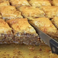 "@foodhedonist25 on Instagram: ""Credit to @gfgbakery : For this holiday season, our signature Baklava is the perfect treat! Sweeten your Thanksgiving with a tray of this…"" Greek Baklava, Greek Desserts, Spanakopita, Cheesesteak, Sweet Tooth, Tray, Thanksgiving Desserts, Seasons, Pastries"