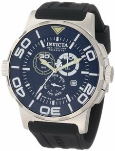Invicta Men's 1730 Reserve Reserve Chronograph Black Dial Black Polyurethane Watch Invicta. $159.99. Black dial with yellow and white hands and white hour markers; luminous; stainless steel bezel with black rotating bi-directional inner bezel with white arabic numerals. Chronograph functions with 30 second, 60 minute and days of the week subdials; date function. Swiss quartz movement. Flame-fusion crystal; brushed stainless steel case; black polyurethane strap...