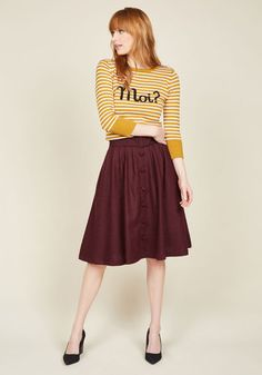 Intern of Fate Midi Skirt in Burgundy by ModCloth - Red, Solid, Buttons, Belted…