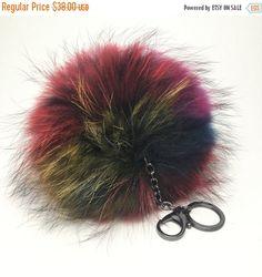 NEW Tropical Swirl Multi Color Raccoon Fur Pom Pom bag charm clover flower charm keychain piece no.352 ( 2 way pom pom)