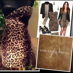 """HPADRIANNA PAPELL Gorgeous leopard print short strapless formal.. All over fitted style.. Sweetheart neckline, zip back .. Bust has one side fully sequined and the other is leopard print ruched .. Junior size 1/2. BUST 32"""" WAIST 24"""" HIPS 34"""" NWOT Adrianna Papell Dresses"""