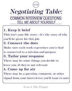 """How to answer """"Tell Me About Yourself"""" from our Negotiating Table on levo.com"""