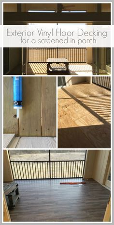 Exterior Vinyl Floor Decking for a screened in porch, instead of bugs coming in through cracks in your deck, try this! Outdoor Vinyl Flooring, Deck Flooring, Outdoor Deck Decorating, Porch Decorating, Outdoor Ideas, Screened In Deck, Screened Porches, Front Porch, Porch Vinyl