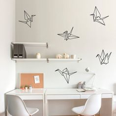 Origami Cranes Wall Decal Paper Crane Art by WallumsWallDecals