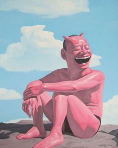 """Yue Minjun [China] (b 1962) ~ """"Sitting and Watching the Clouds"""", 2006. Oil on canvas (80 X 100 cm). 