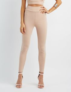 Sturdy ponte knit sculpts a pair of leggings with a slender, tapered fit, and a high, wide waistband that looks great with cropped styles. Knit Leggings, Knit Pants, Leggings Are Not Pants, Ponte Pants, Charlotte Russe, Looks Great, Khaki Pants, Outfits, Dj Spooky