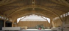 This museum for fishing-related crafts has an 18.5 meter-wide (60.7 feet) roof constructed of laminated timber trusses