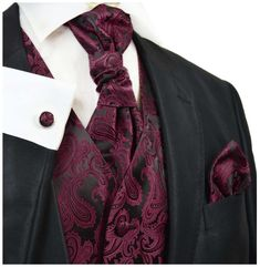Spice up your formal suit with this Burgundy and Black Paisley Tuxedo Vest Set. This tuxedo vest set includes the vest, a matching necktie and pocket square. Camo Wedding Rings, Maroon Wedding, Tuxedo Wedding, Burgundy Wedding, Wedding Suits, Wedding Tuxedos, Wedding Attire, Wedding Black, Fall Wedding