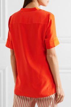Equipment - Hartley Washed-silk Top - Orange -