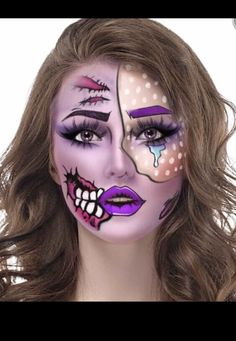 DIY Halloween Costumes for Women - Comic Book Pop Art Makeup Tutorial Horror Makeup, Zombie Makeup, Sfx Makeup, Diy Halloween Costumes For Women, Halloween Makeup Looks, Comic Make Up, Comic Book Makeup, Pop Art Zombie, Pop Art Makeup