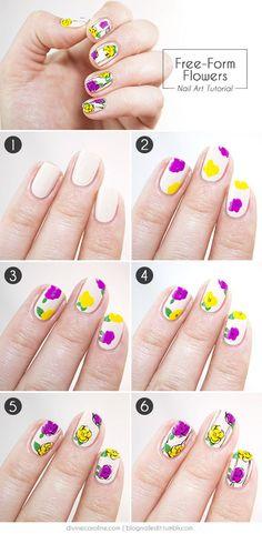 Freeform Flowers   Cool and Fun Floral Nail Art by Makeup Tutorials http://makeuptutorials.com/easy-nail-art-designs-ideas/