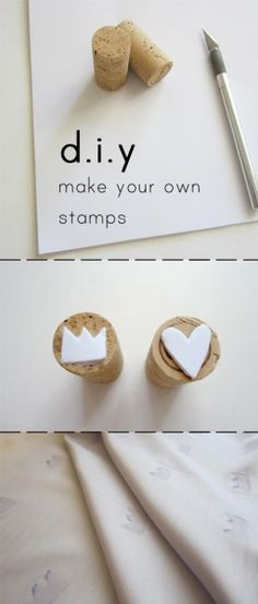The best DIY projects & DIY ideas and tutorials: sewing, paper craft, DIY. Diy Crafts Ideas DIY: how to make your own stamps. Cork Crafts, Fun Crafts, Diy And Crafts, Paper Crafts, Diy Projects To Try, Craft Projects, Craft Ideas, Diy For Kids, Crafts For Kids
