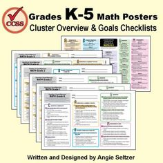 Grades K-5 Math Overview and Checklist Posters | Edworld Exchange | Where Educators Buy and Sell Resources
