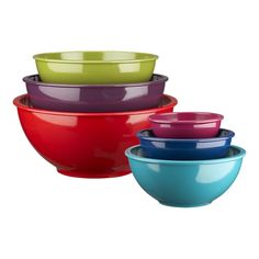 I'm well aware I have too many mixing bowls, and I'm also aware melamine isn't great (even though I have an entire dinner set including serving pieces of melamine!) but I LOVE the colors!!!