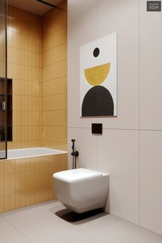 unique home accents Yellow tilework covers the splash zone and clads the front of the bath as one bold volume. Apartment Interior, Bathroom Interior, Bathroom Art, Home Decor Styles, Cheap Home Decor, Kids Room Accessories, Tv Wall Decor, Home Decor Kitchen, Kitchen Country