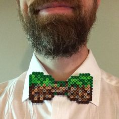 Show your pixel side with this handmade Grass Block Minecraft Perler bead bow tie. Planning a perfect gamer or geek-themed wedding? Make your