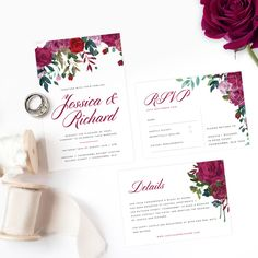 Our Floral Rose invitation suite is printed on white card. Wedding Suite, Rose Wedding, Invitation Suite, Invitations, Seating Charts, Wedding Stationery, Bliss, Place Cards, Place Card Holders