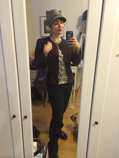 Today's outfit (minus the overcoat I'll toss over it to go outside because it's freaking cold).