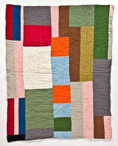 """Some strip quilts in the Bellevue Arts Museum (Bellevue, Washington) exhibit """"Bold Expressions: African American Quilts,"""" such as this one from East Texas in the 1940s, use colors as vibrant as those in Rothko paintings."""