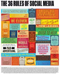 This covers the basic rules of using social media and navigating the online atmosphere. It is colorful and eye-catching!