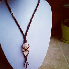 Pink Apophyllite leather wrapped pendant by DesertDaisyJewelry on Etsy