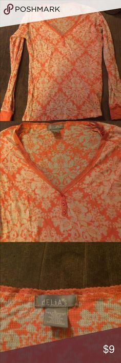 Delias orange and white thermal Henley Gently worn delias Tops Tees - Long Sleeve
