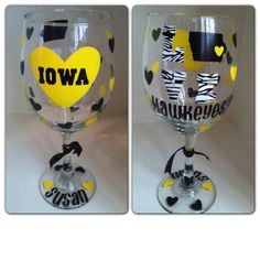 Iowa Wine Glass...can be personalized with by CreateBeautywithLove, $20.00