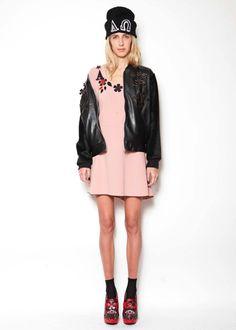 Embellishment leather jacket and dress