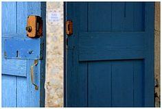 Tür, Blau, Schloss, Bretter, Holz, Tor